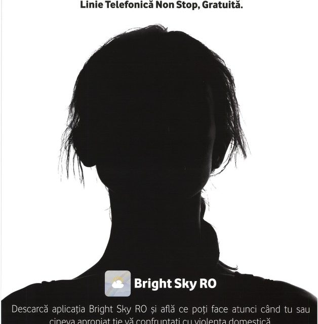 MATERIAL PUBLICITAR – APLICAȚIA BRIGHT SKY RO DEDICATĂ VICTIMELOR VIOLENȚEI DOMESTICE/TRAFICULUI DE PERSOANE